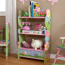 inspiring home design bookcases for kids sweet butterfly and flower shape  with green pink and blue