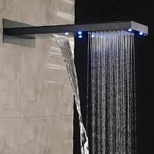 modern shower head recessed bathroom lighting. Waterfall Rainfall Oil Rubbed Bronze Shower System Modern Head Recessed Bathroom Lighting