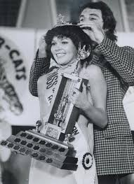 Eighteen-year-old Wendy Mills; Miss Saskatchewan Roughrider; was crowned  Miss Grey Cup last night. She is a first-year student of commerce at  University of Saskatchewan. Prizes include new car and vacation of Jamaica.  :