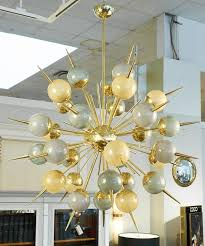 mid century modern multicolored murano glass and brass sputnik chandelier for
