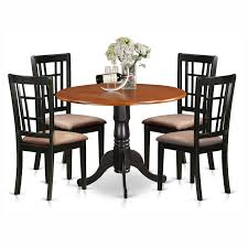 east west furniture dublin 5 piece drop leaf dining table set with nicoli microfiber seat chairs hayneedle
