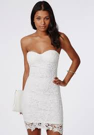Adelle Lace Bandeau Bodycon Dress White Missguided