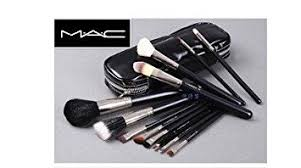 mac 12 pcs professional cosmetic makeup brushes set with pu leather cover