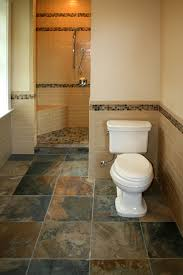 slate tile floor and half wall tiles with border