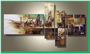 get quotations handmade 4 piece modern abstract oil paintings on canvas wall art city pictures for living room on 4 piece canvas wall art with cheap 3 piece modern wall art find 3 piece modern wall art deals on