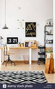 Scandinavian retro furniture Swedish Design Natural Decor Of Scandinavian Study Desk Workspace With Wooden Furniture Retro Chair Plants Lamps And Computer With Digital Desktop Clock Alamy Natural Decor Of Scandinavian Study Desk Workspace With Wooden