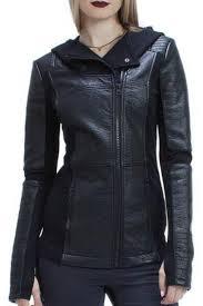 blanc noir asymmetrical hooded moto jacket front cropped image