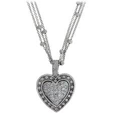 white gold and diamond heart pendant with diamond chain for at 1stdibs