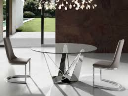 porto lujo modern round glass dining table with stainless steel base