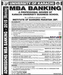 admissions open in university of karachi institute of admissions open 2015 in university of karachi institute of bankers ibp for mba