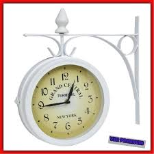 antique large outdoor wall clock vintage railway train station hang decor white hanging clocks canada outdoor wall decor