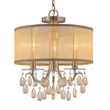 crystorama hampton 3 light brass etruscan crystal drum shadechandelier