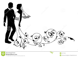Wedding Couple Bride And Groom Silhouette Royalty Free Stock