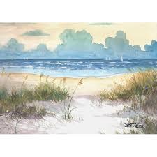 ocean painting sea oats original watercolor seascape painting ocean beach sailboats sailboat sunset water blue ochre 7x10 on paper