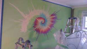 how to paint a tie dye residential wall interior painting in acrylic
