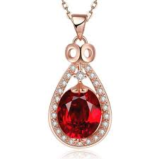 luxury 6 15 ct ruby pear cut pendant necklace 925 sterling silver 18 chain