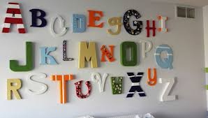 colorful wooden letters for baby room