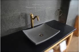 18'' Gray basalt Stone Bathroom Sink Concrete Look TAHITI MOON