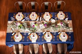 Reception Table Set Up Navy Blue And Gold Wedding Reception Table Set Up With