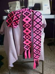 Pink Black Argyle Double Knit Scarf With Chart Knitting