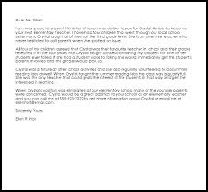 Elementary Teacher Recommendation Letter Example Letter