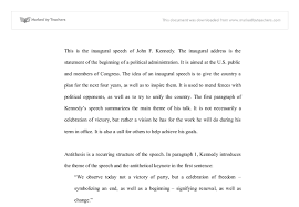 the inaugural speech of john f kennedy gcse history marked  document image preview