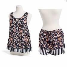 Vera Bradley Pajama Set Tank Shorts Size Large Xl In Cut