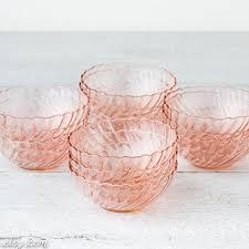 12 vintage pink glass dessert bowls pale pink glassware smal