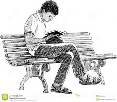 young man reading stock vector ilration of drawing 43356981