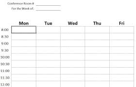 Professional Schedule Template Professional Conference Room Schedule Template Excel