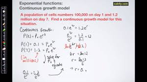 exponential functions finding a continuous growth model