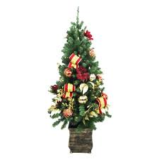 Home Accents Holiday 4 ft. Battery Operated Plaza Potted Artificial Christmas  Tree with 50 Clear
