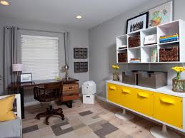 grey home office. Contemporary Home Office In Gray With Burst Of Bright Yellow Hgtv Grey For I