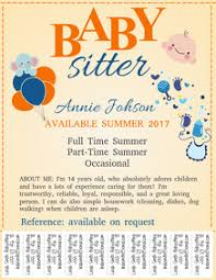 Babysitting Flyer Template Baby Sitter Flyers Magdalene Project Org