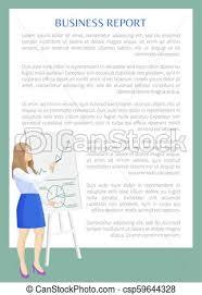 Business Report Banner Color Vector Illustration