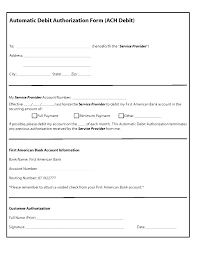 Recurring Payment Authorization Form Authorization Form Template With Ach Deposit Tsurukame Co