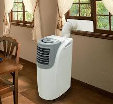 window air conditioner outside. installation is typically very easy, and really just involves opening the window enough to fit bracket in, then closing back down on it air conditioner outside