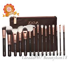 philippines zoeva 15 pcs professional makeup brush set with cosmetics pouch rose gold