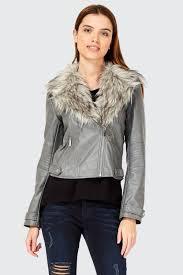 grey faux fur collar biker jacket