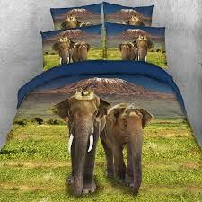 chocolate brown green and dark blue african safari elephant print jungle animal themed twin full queen king size bedding sets