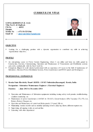 Electrical Engineer Cv Mechanical And Electrical Engineering