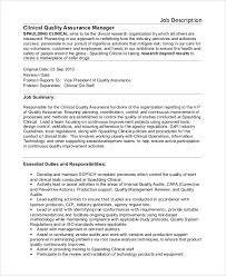 Quality Assurance Manager Job Description Under Fontanacountryinn Com