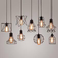 vintage industrial metal cage pendant light hanging lamp edison for bulb fixture designs 0