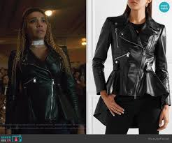 leather peplum jacket by alexander mcqueen worn by allison hargreeves emmy raver lampman