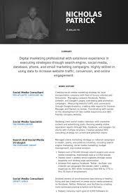 Social Media Consultant Resume Samples Visualcv Resume Samples