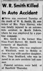 Story - W R Smith dies from car accident (wife Nina Pearl Harvey Smith)  10-6-1955 - Newspapers.com