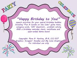Birthday Reminder Chart Put A Candle On The Cake A Speechie Game And Birthday Treat For A