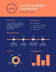 Orange Blue Simple Infographic Resume – Templates By Canva With ...