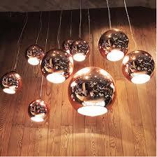 ball pendant lighting. Chrome Golden Round Glass Tom Dixonss Pendant Lighting Bar Living Room Copper Mirror Shade Modern Ball Lamp-in Lights From \u0026 A