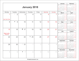 january 2018 calendar free january 2018 calendar printable with holidays pdf and jpg